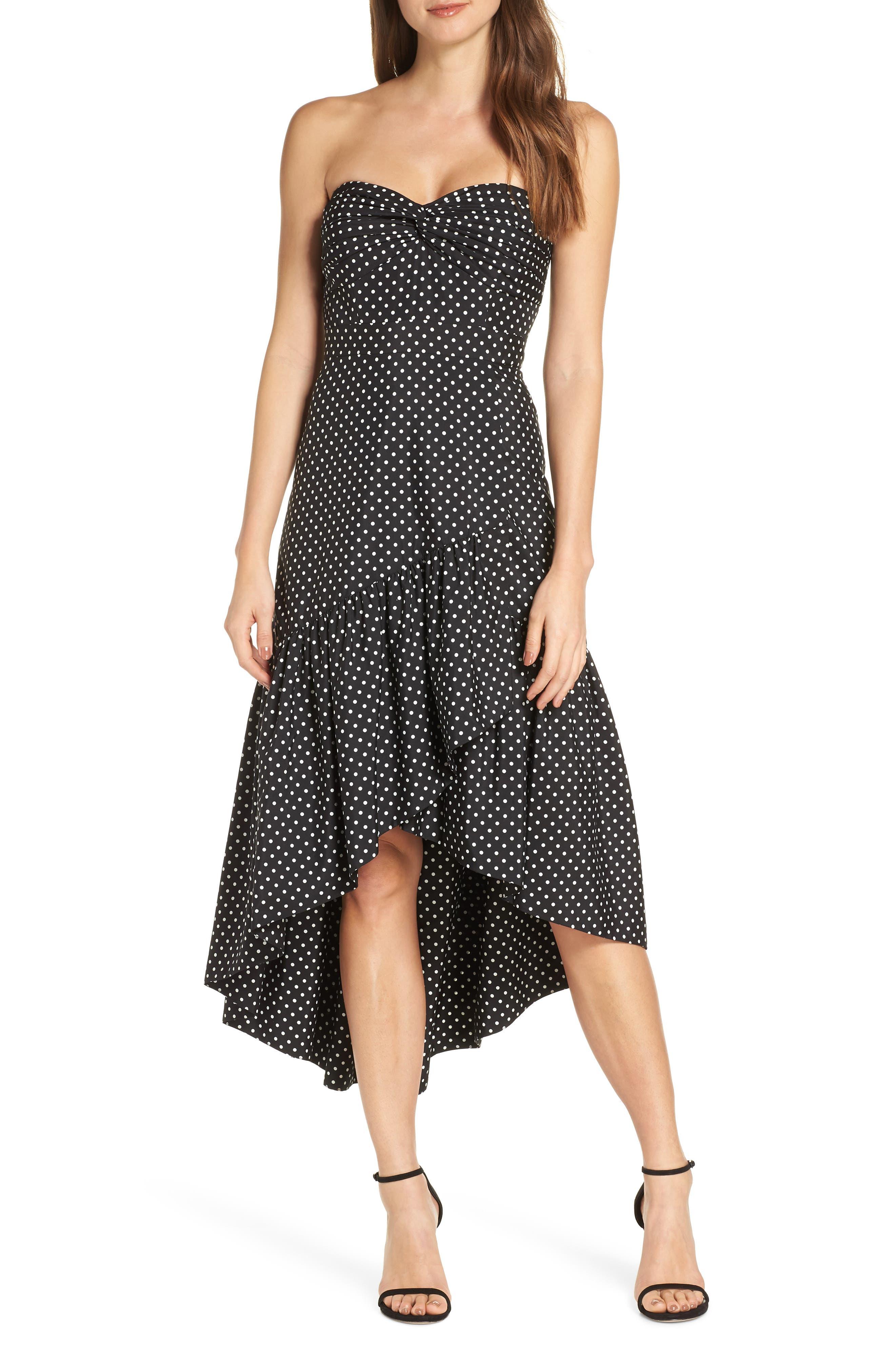 Eliza J Strapless Polka Dot Cocktail Dress, Black