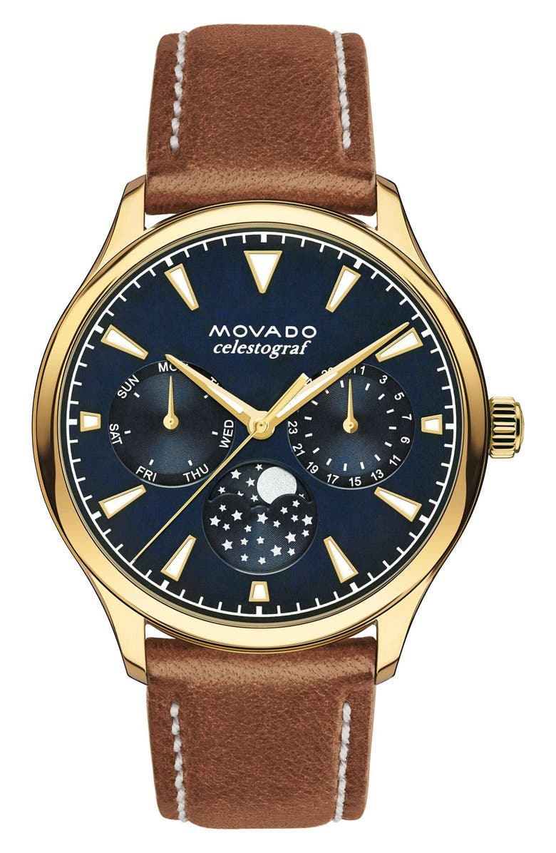MOVADO Heritage Multifunction Leather Strap Watch, 36mm, Main, color, BROWN/ BLUE/ GOLD