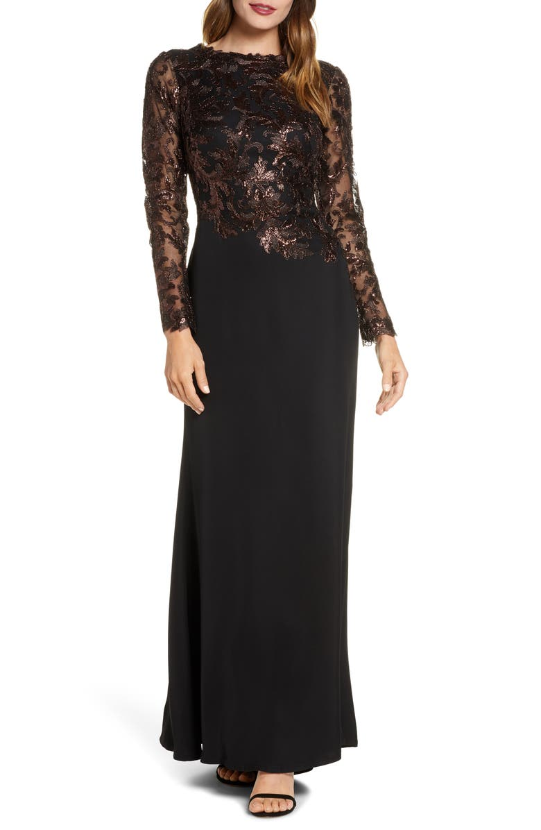 TADASHI SHOJI Sequin Bodice Long Sleeve Trumpet Gown, Main, color, ESPRESSO/ BLACK
