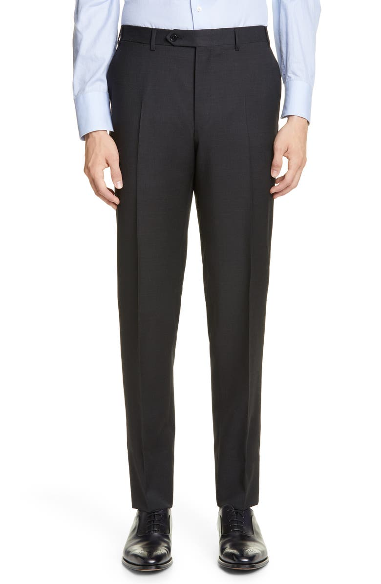 CANALI Flat Front Dot Wool Dress Pants, Main, color, BLACK