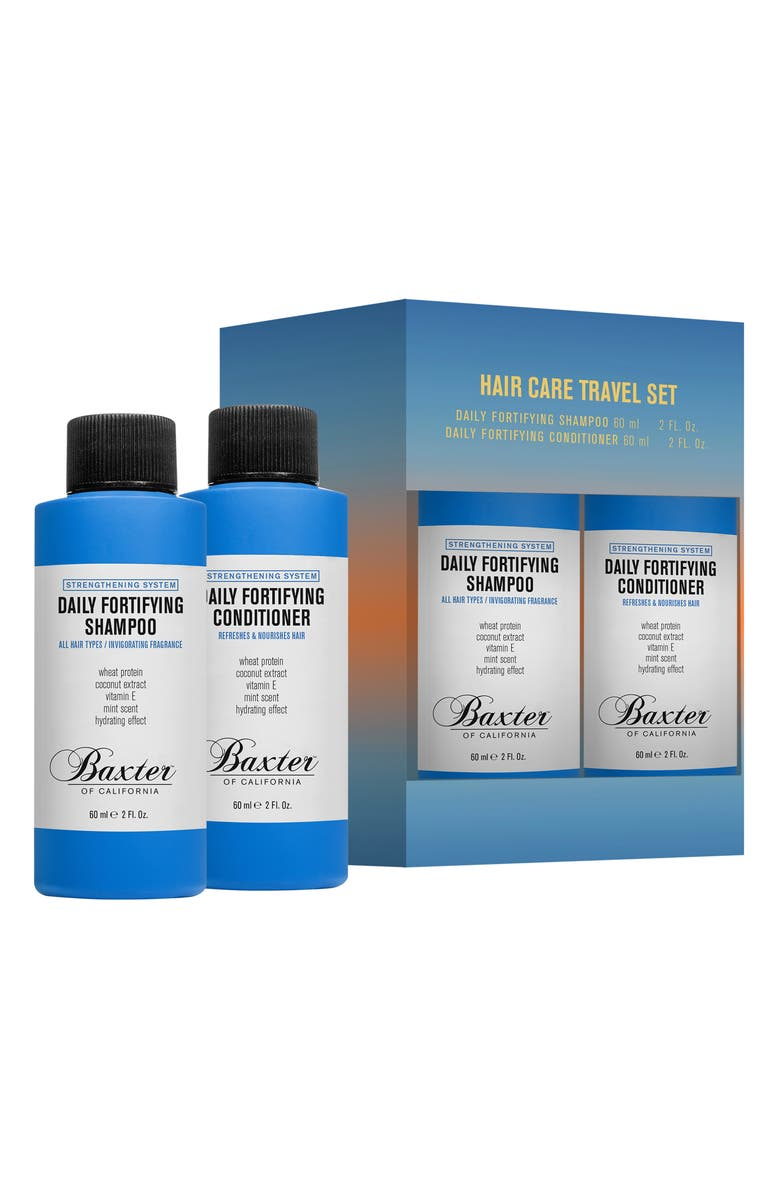 BAXTER OF CALIFORNIA Travel Size Daily Fortifying Shampoo & Conditioner Set, Main, color, NO COLOR