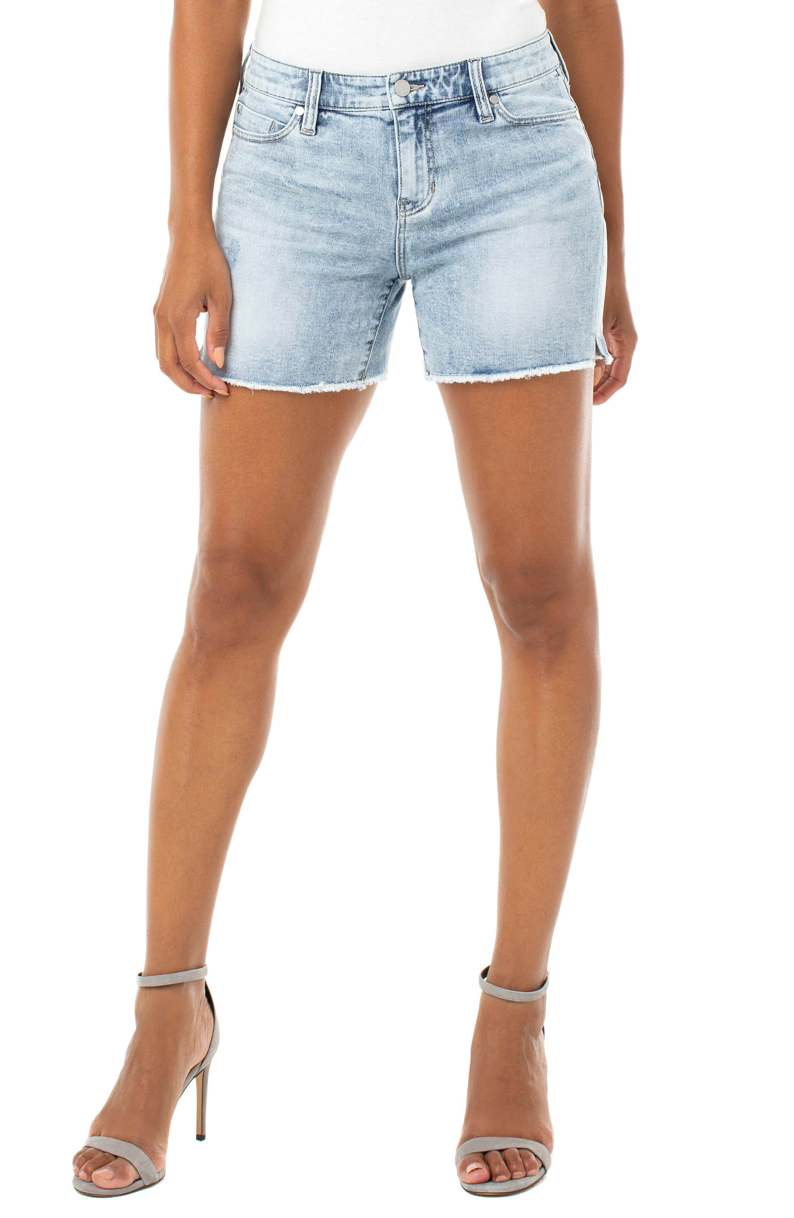 Keep an eye on that thermometer, so you\\\'ll be sure when to slip into these stretch-denim shorts with a well-worn look and thickly frayed vented cuffs. Style Name: Liverpool Vickie Frayed Denim Shorts. Style Number: 5964876 1. Available in stores.