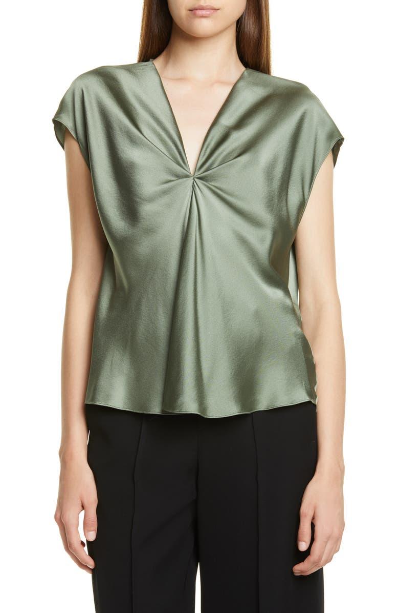 VINCE Twist Detail Short Sleeve Silk Blouse, Main, color, SAGE FLINT