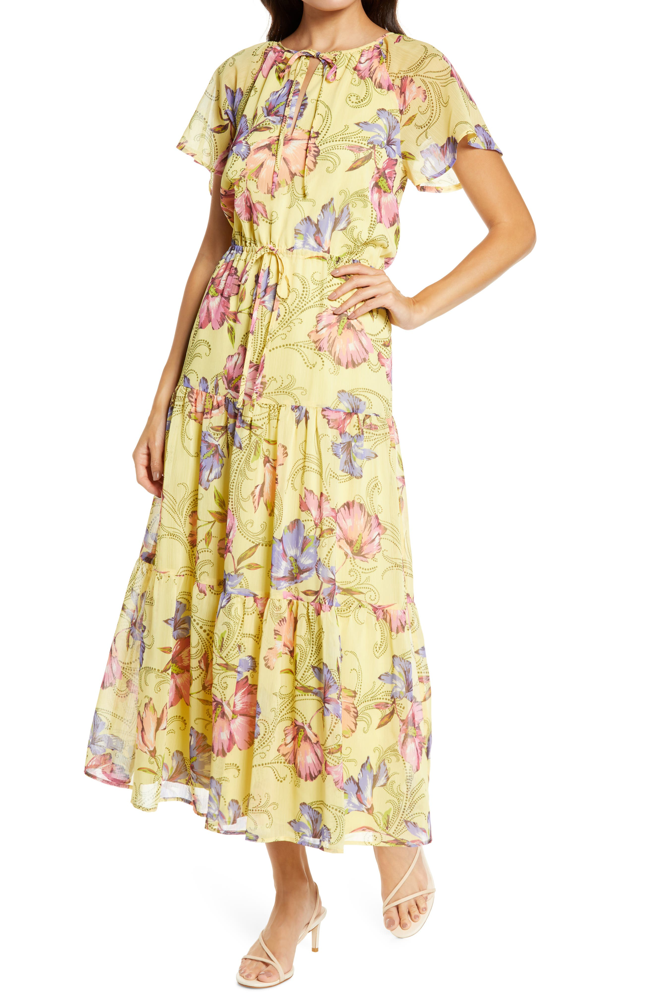70s Outfits – 70s Style Ideas for Women Womens Chelsea28 Tie Front Floral Print Maxi Dress $139.00 AT vintagedancer.com