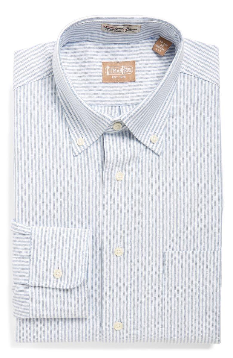 GITMAN 'Cambridge Oxford' Regular Fit Stripe Dress Shirt, Main, color, BLUE