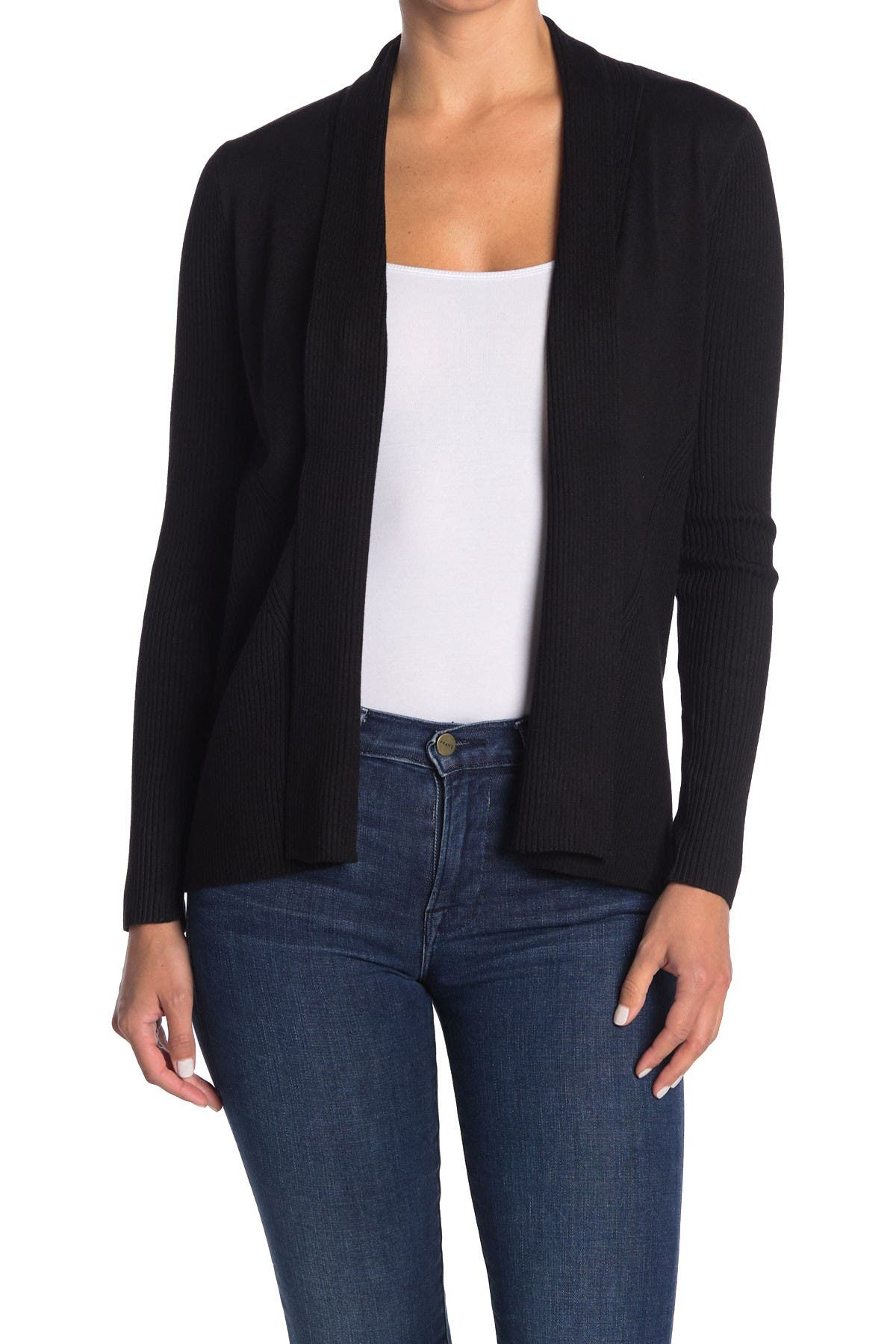 Image of M Magaschoni Ribbed Shawl Collar Open Front Cardigan