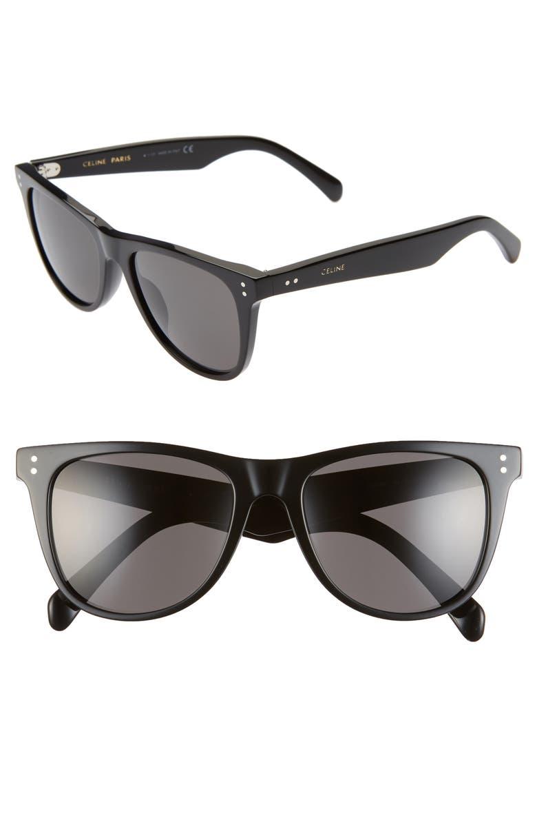 CELINE 54mm Round Sunglasses, Main, color, SHINY BLACK