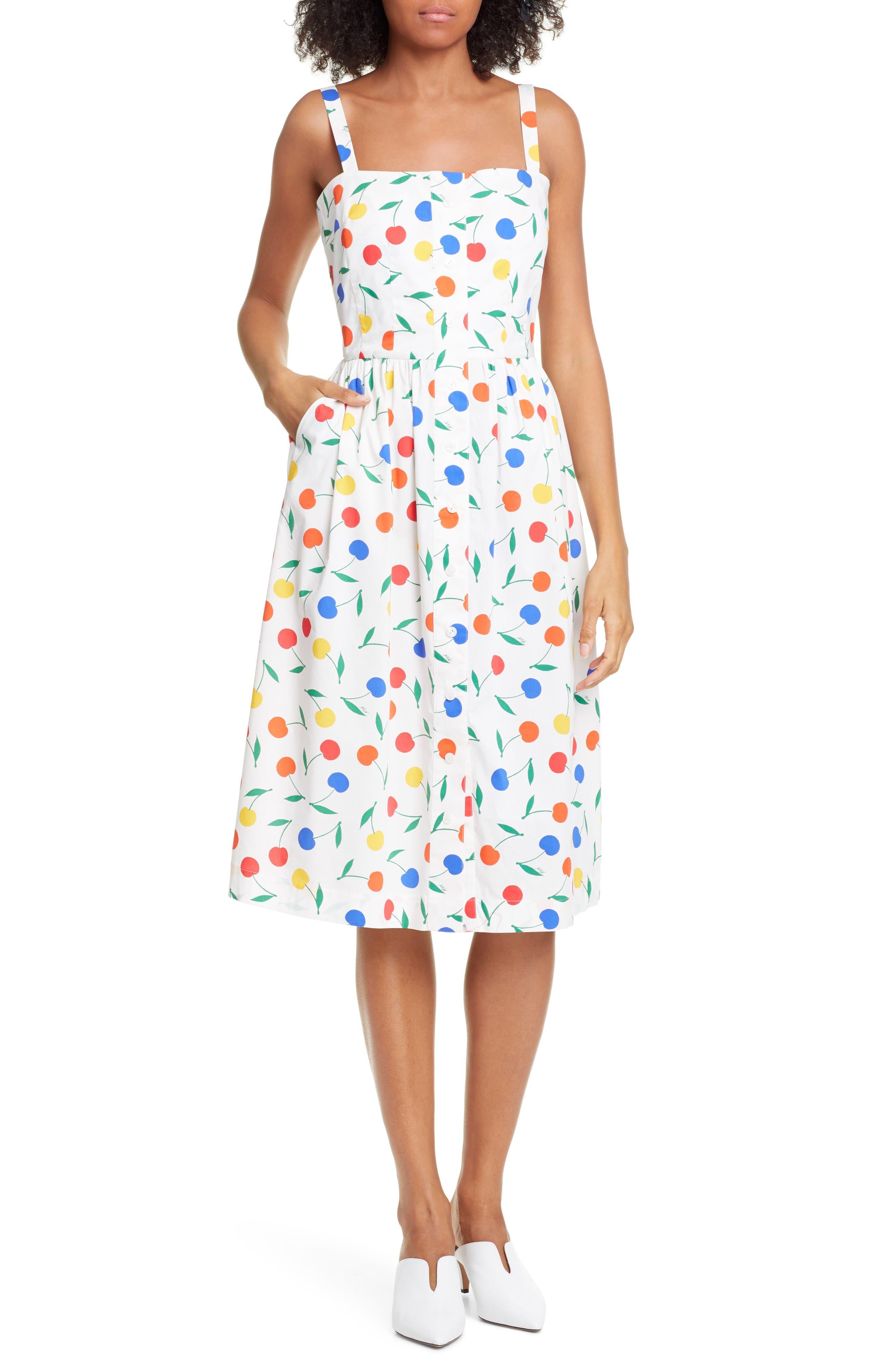 Hvn Laura Fruit Print Dress, White