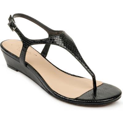 Jewel Badgley Mischka Brea Snake Embossed Wedge Sandal, Black