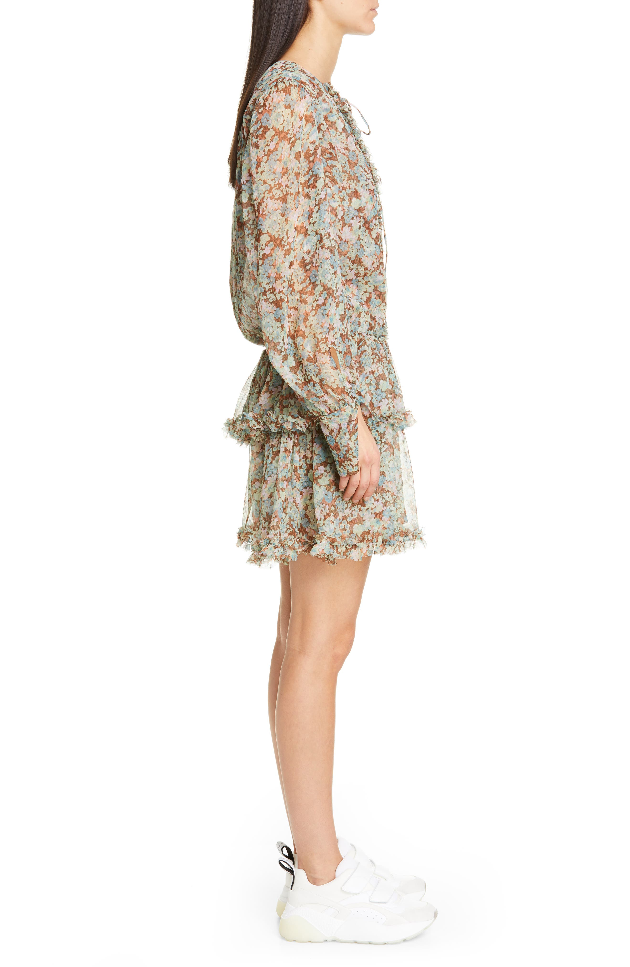 ,                             Meadow Floral Print Silk Dress,                             Alternate thumbnail 4, color,                             MULTICOLOUR