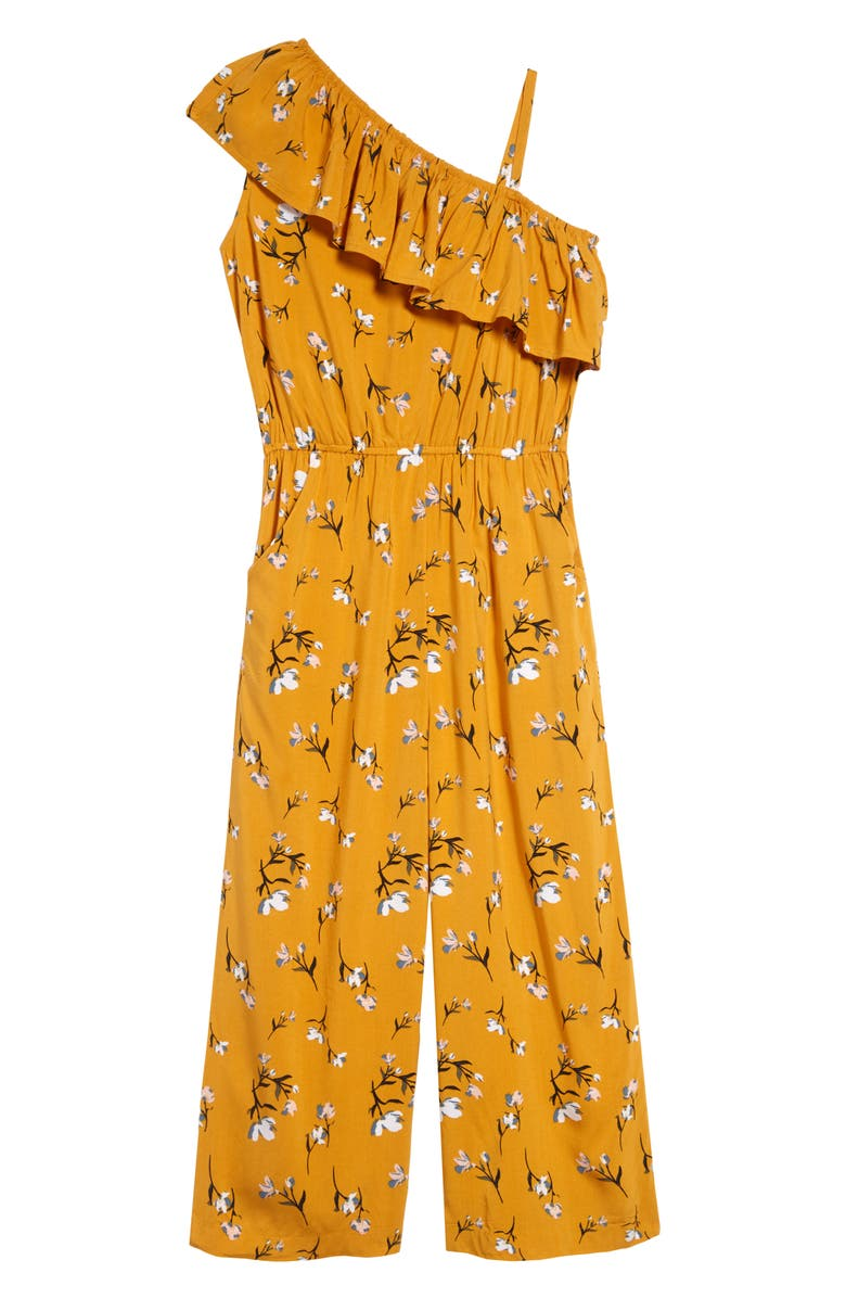 TUCKER + TATE One-Shoulder Ruffled Romper, Main, color, YELLOW FLORAL
