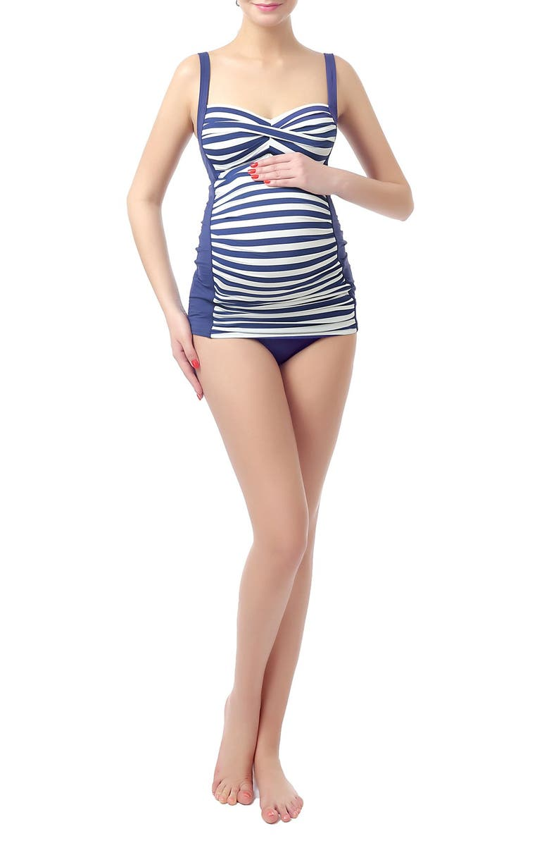 KIMI AND KAI 'Abby' Maternity Two-Piece Tankini Swimsuit, Main, color, NAVY/ IVORY