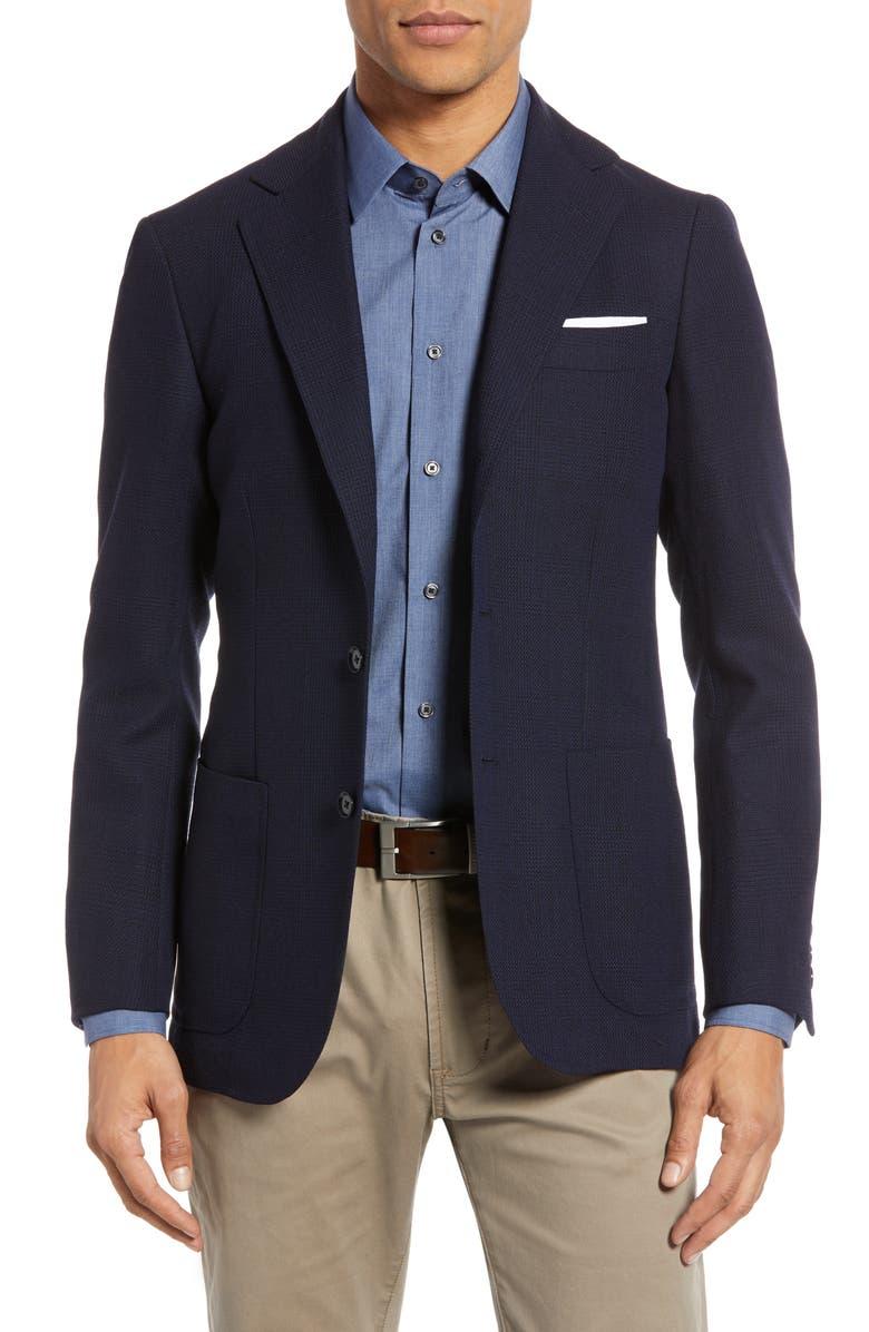 RING JACKET Trim Fit Plaid Wool Sport Coat, Main, color, NAVY