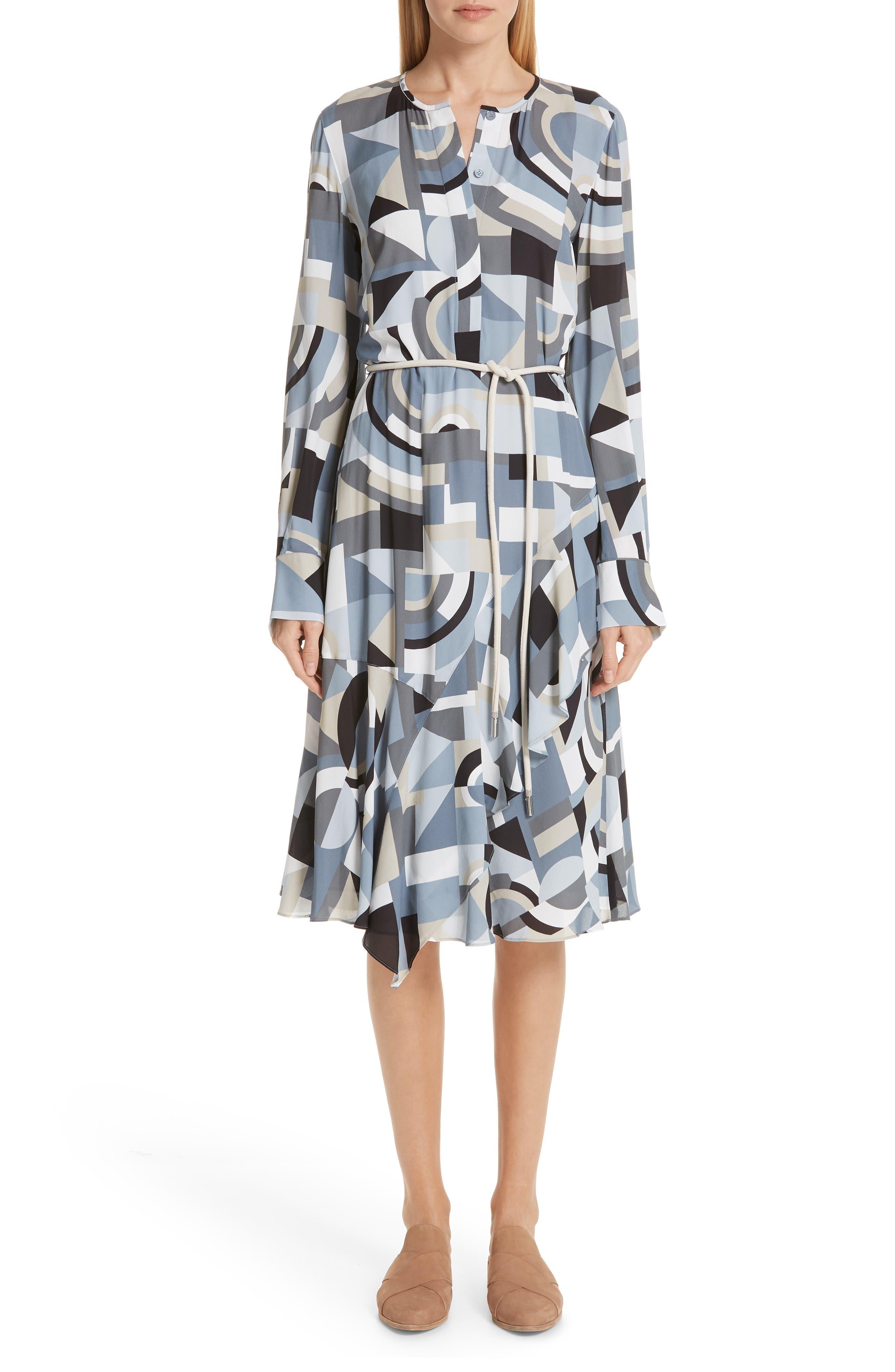 Lafayette 148 New York Paris Genteel Geometry Crepe Dress, Blue