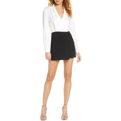 French Connection Chinza Long Sleeve Romper, Black