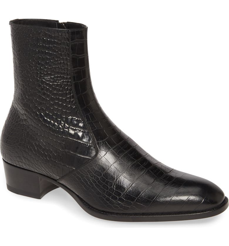 SAINT LAURENT Wyatt Zip Boot, Main, color, BLACK LEATHER