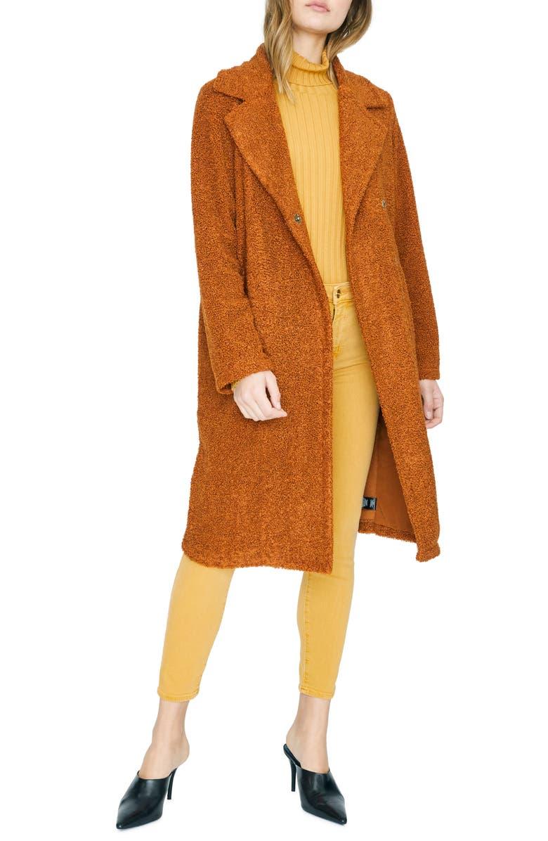 SANCTUARY Go Long Faux Fur Teddy Coat, Main, color, EARTH STONE
