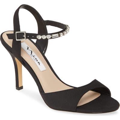Nina Valena Crystal Strap Sandal, Black