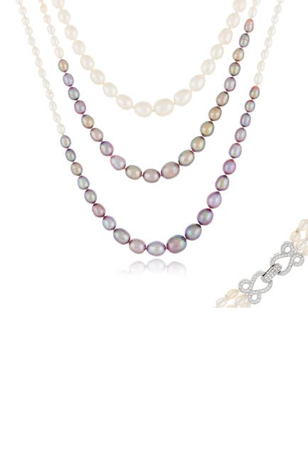 "Image of Splendid Pearls Graduated Triple Row Freshwater Pearl 60"" Necklace"