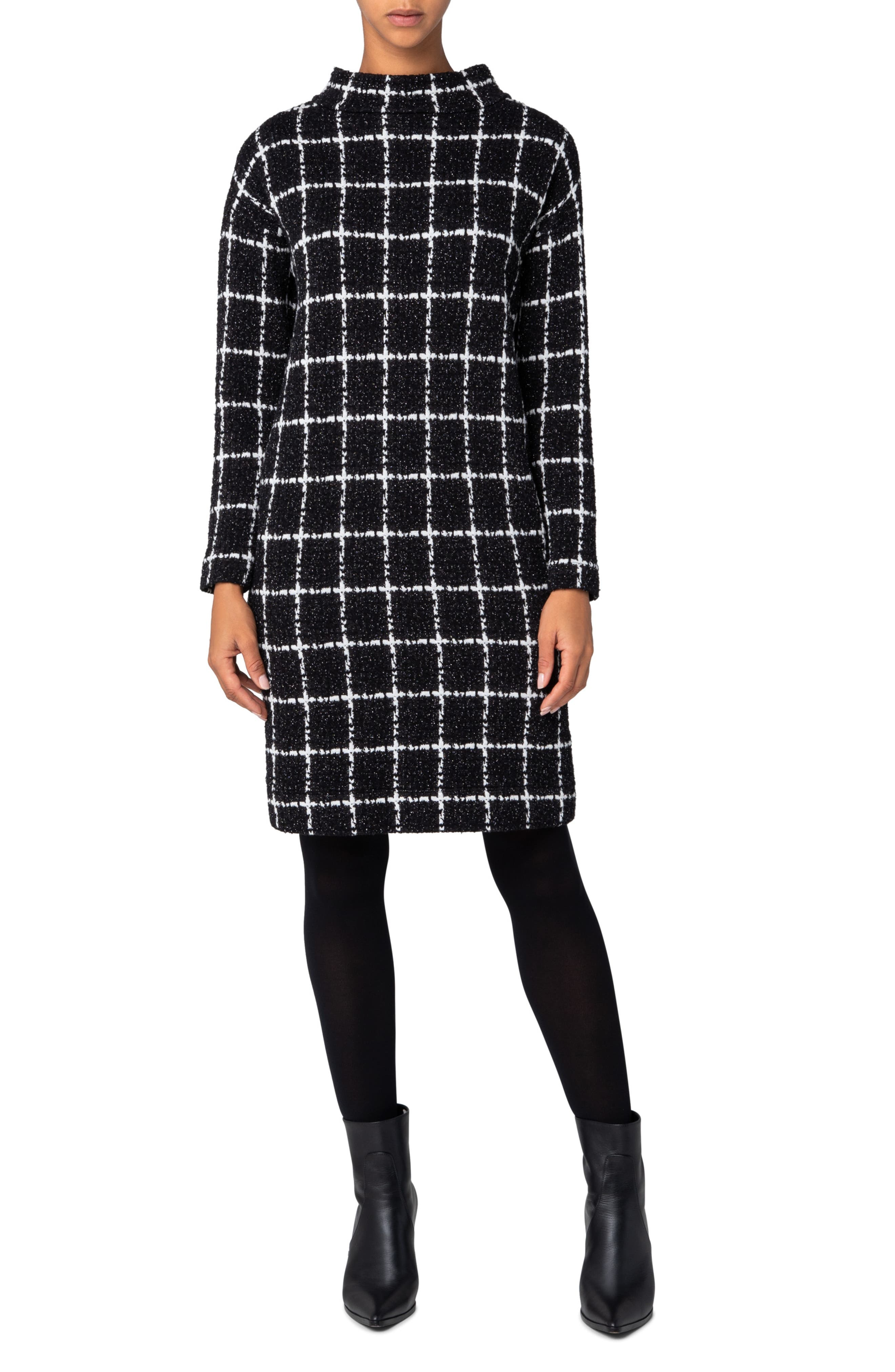 Shop Queen's Gambit Outfits – 60s Clothes Womens Akris Punto Grid Check Long Sleeve Jersey Dress $1,290.00 AT vintagedancer.com