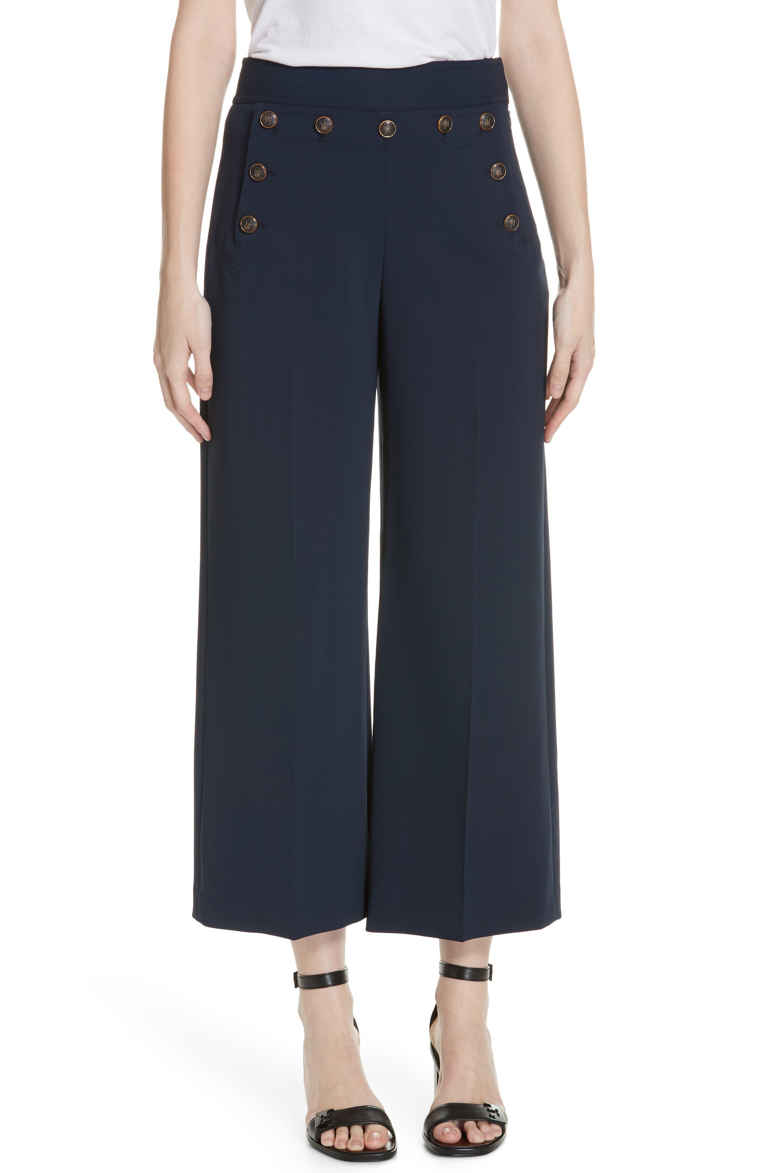 Women's Tory Burch Button Detail Crop Pants,  12 - Blue