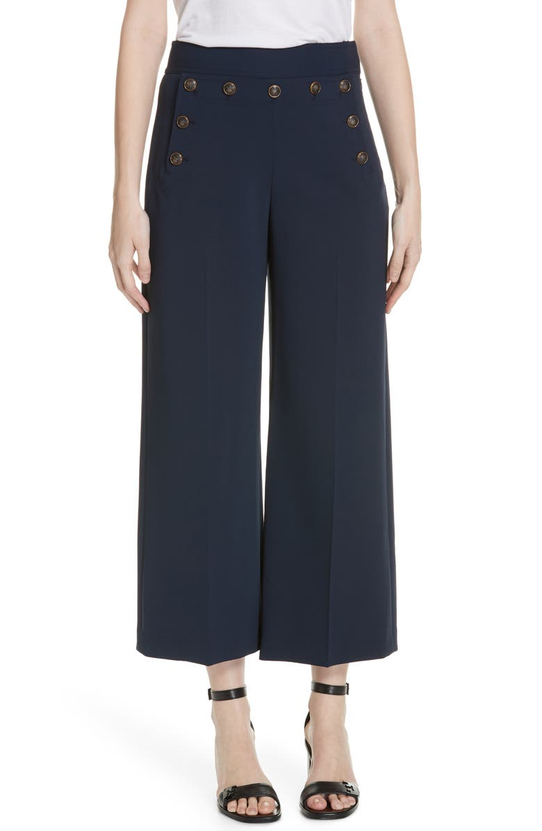 TORY BURCH Button Detail Crop Pants, Main, color, TORY NAVY