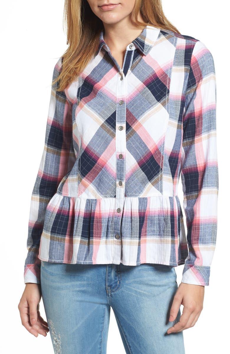 CASLON<SUP>®</SUP> Peplum Plaid Shirt, Main, color, 410
