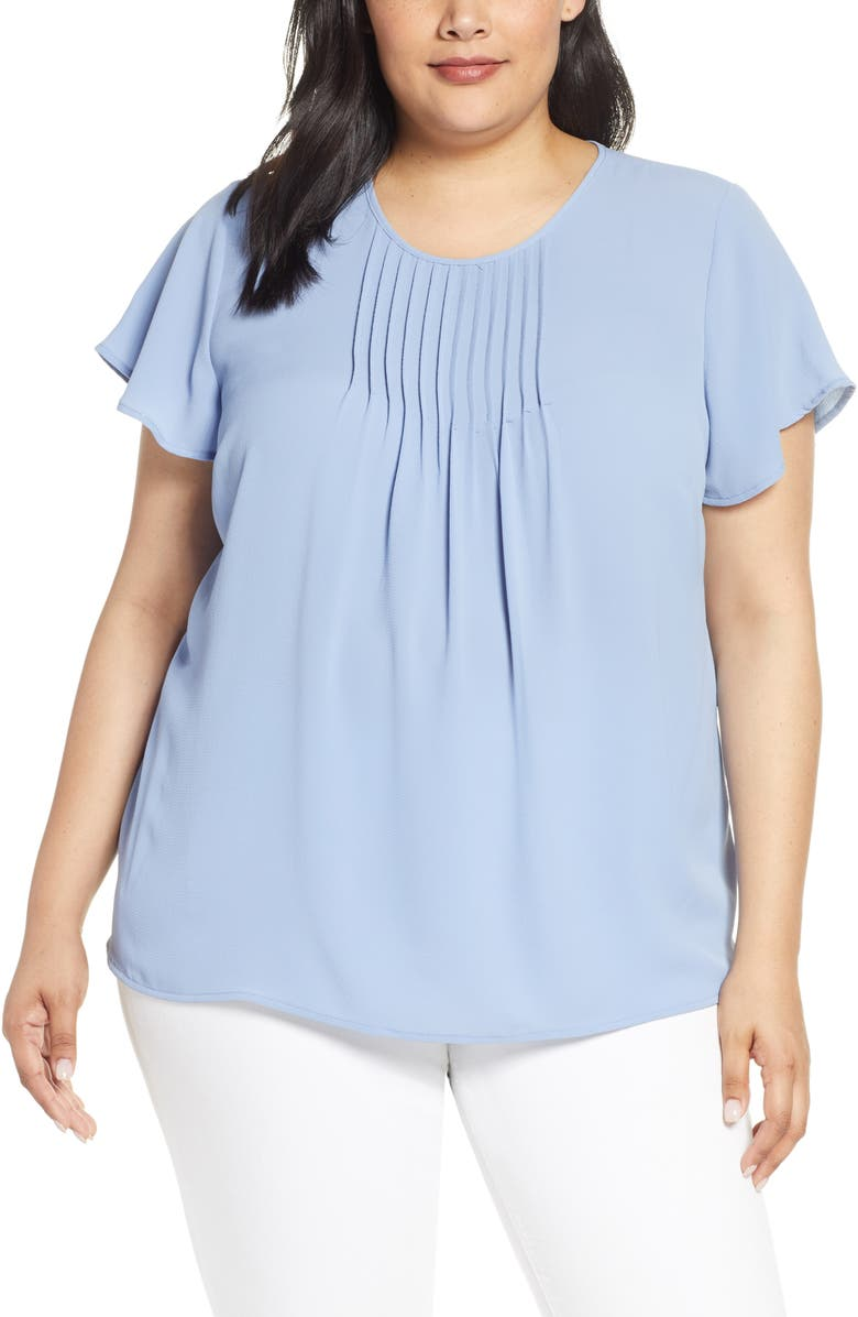 CECE Pintuck Blouse, Main, color, BLUE HAZE