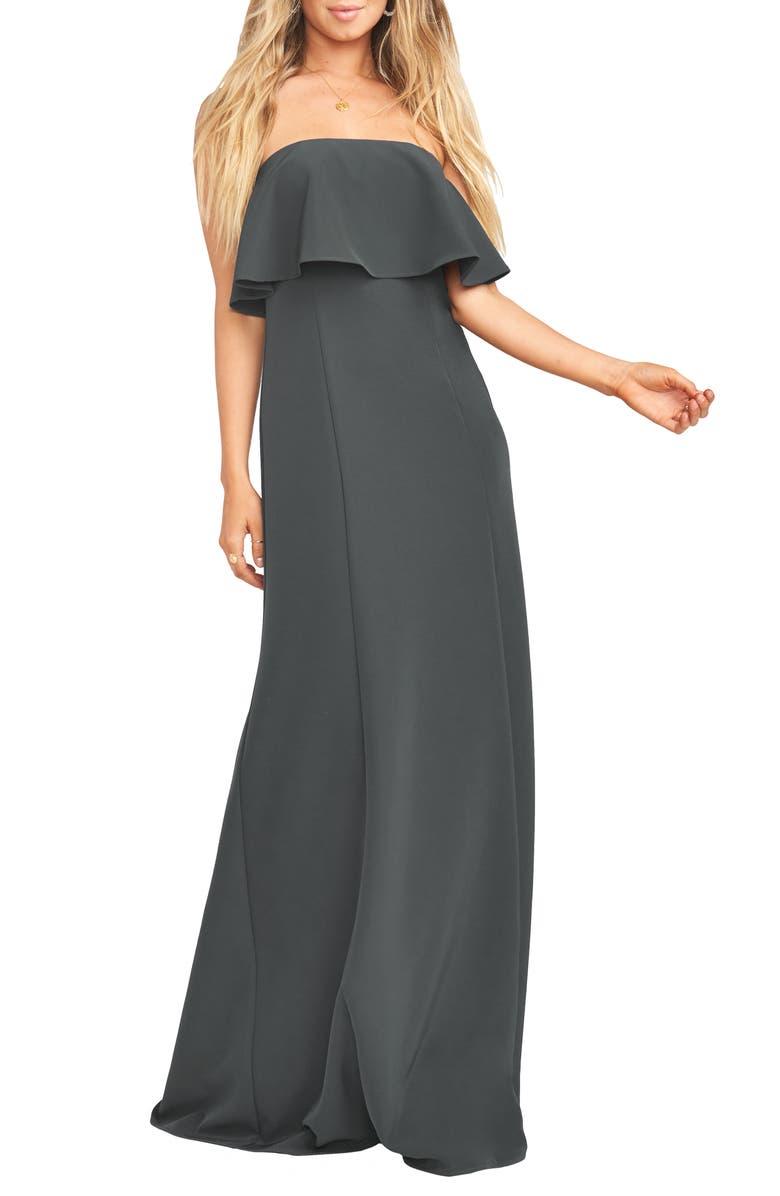 SHOW ME YOUR MUMU Monaco Strapless Ruffle Bodice Evening Gown, Main, color, 020