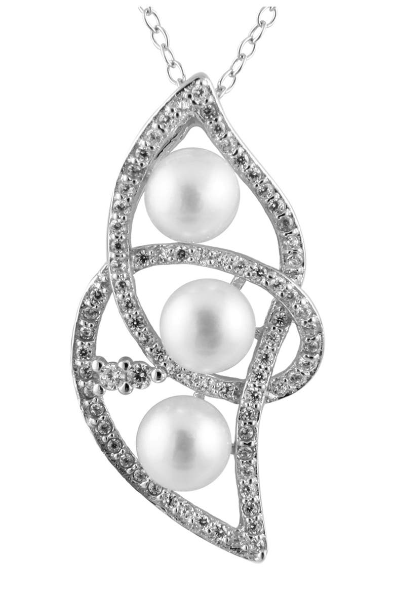 SPLENDID PEARLS Sterling Silver Pave CZ 5-5.5mm Freshwater Pearl Twisted Pendant Necklace, Main, color, NATURAL WHITE