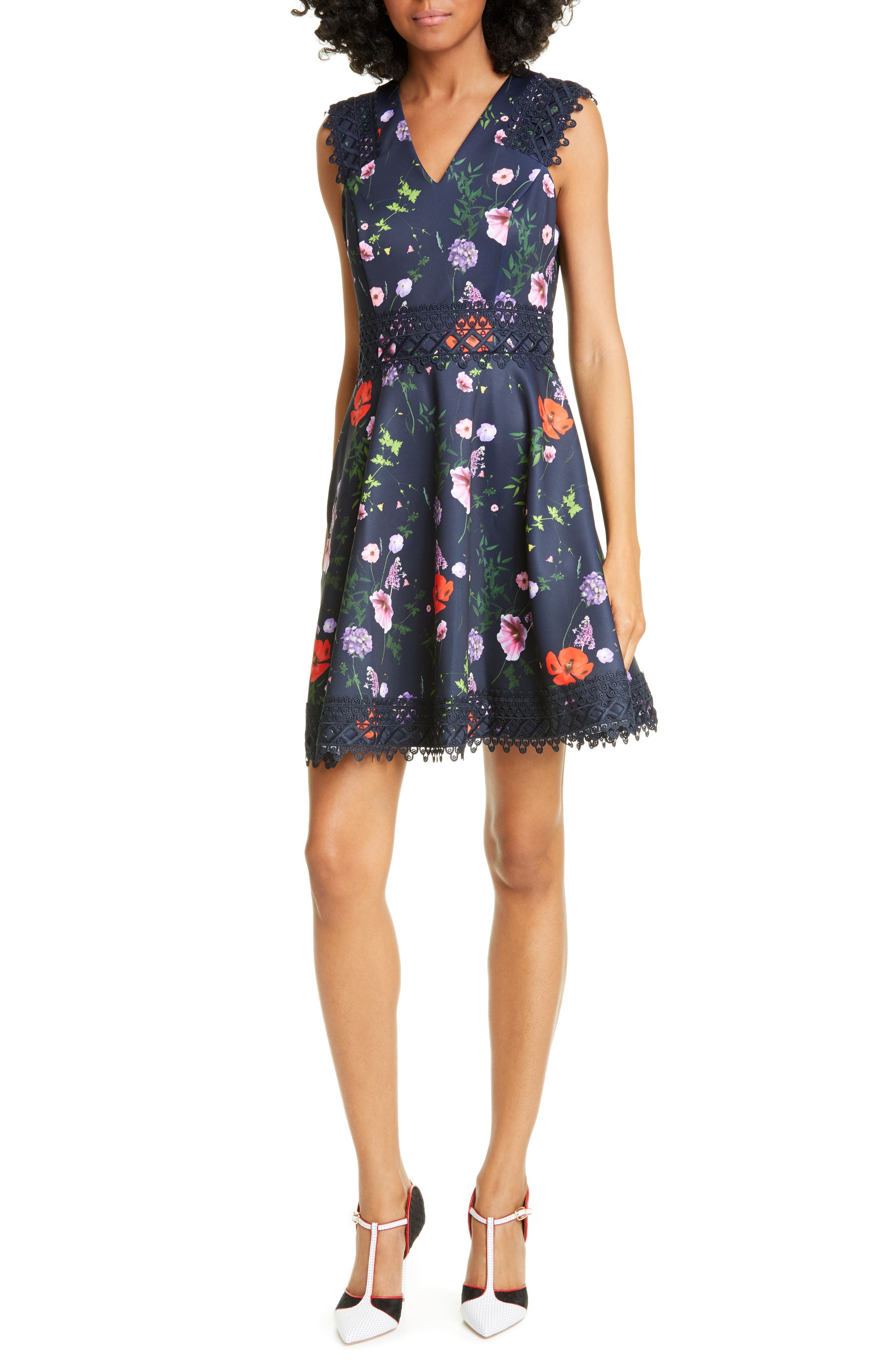 Ted Baker London Lace Detail Skater Dress, Blue
