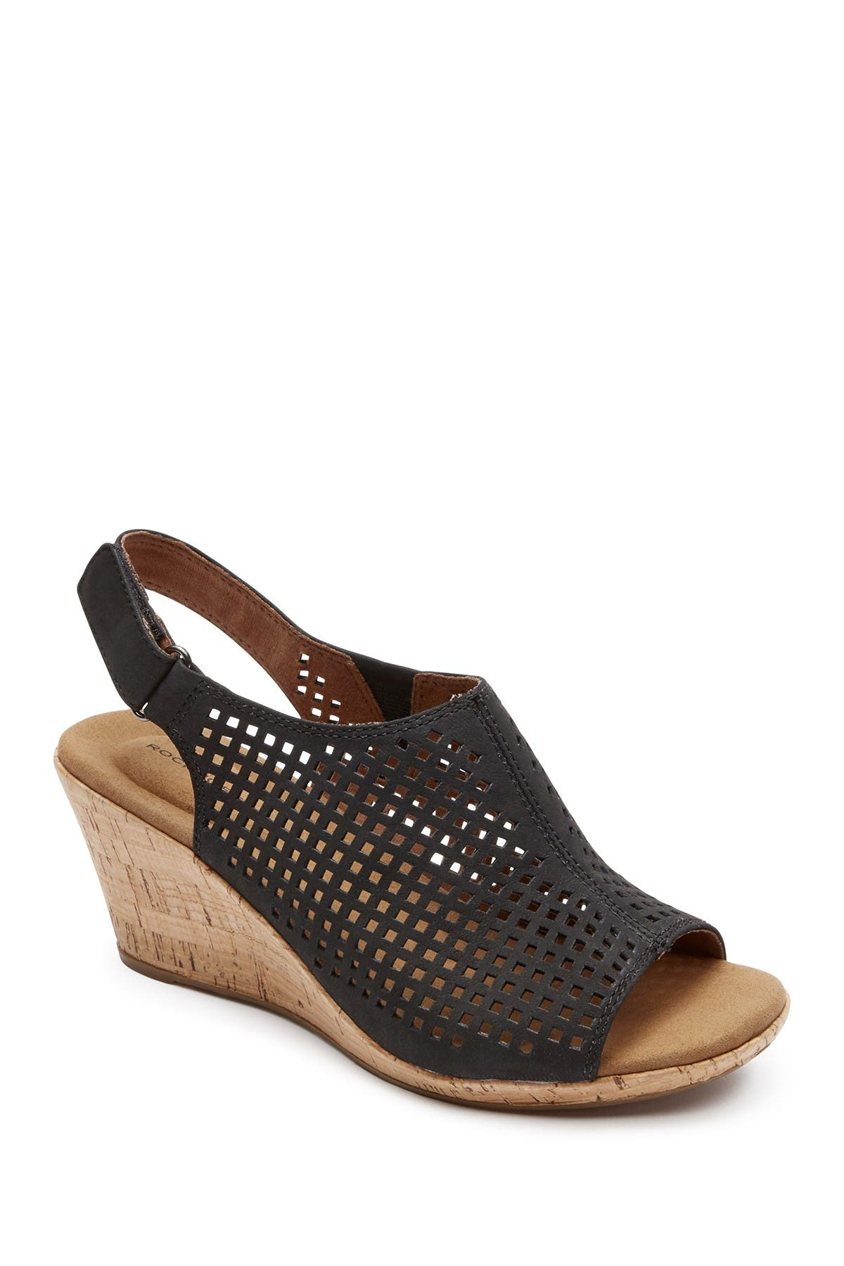 Image of Rockport Briah Perforated Wedge Sandal - Wide Width Available