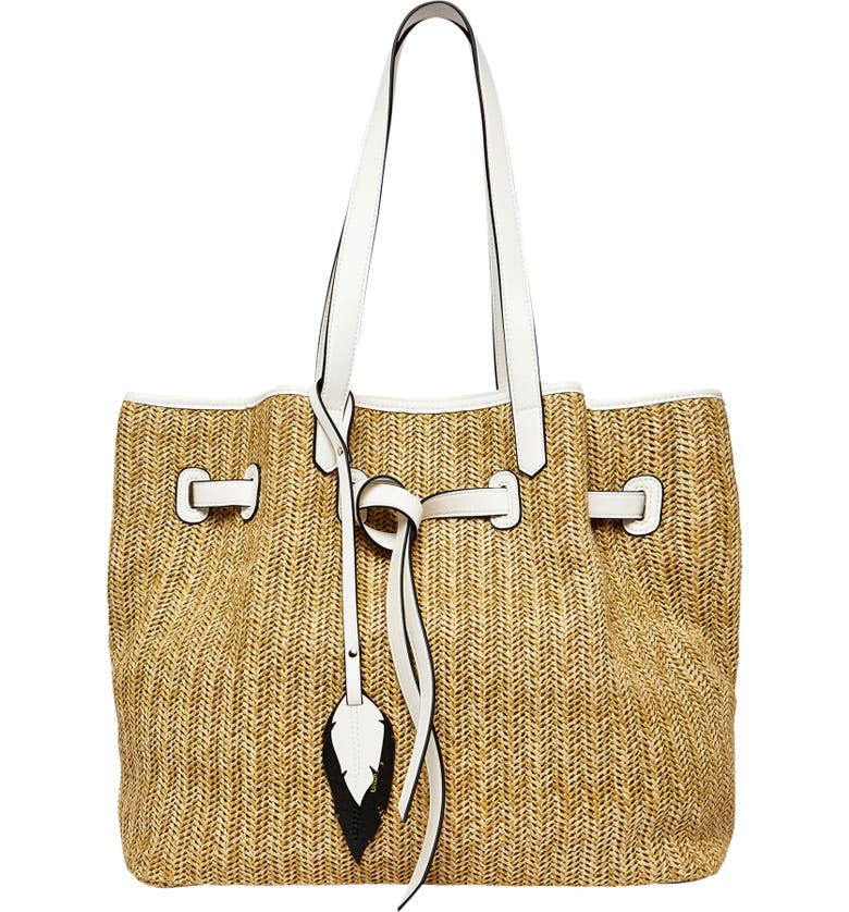 URBAN ORIGINALS Wild Flower Straw Tote, Main, color, BEIGE