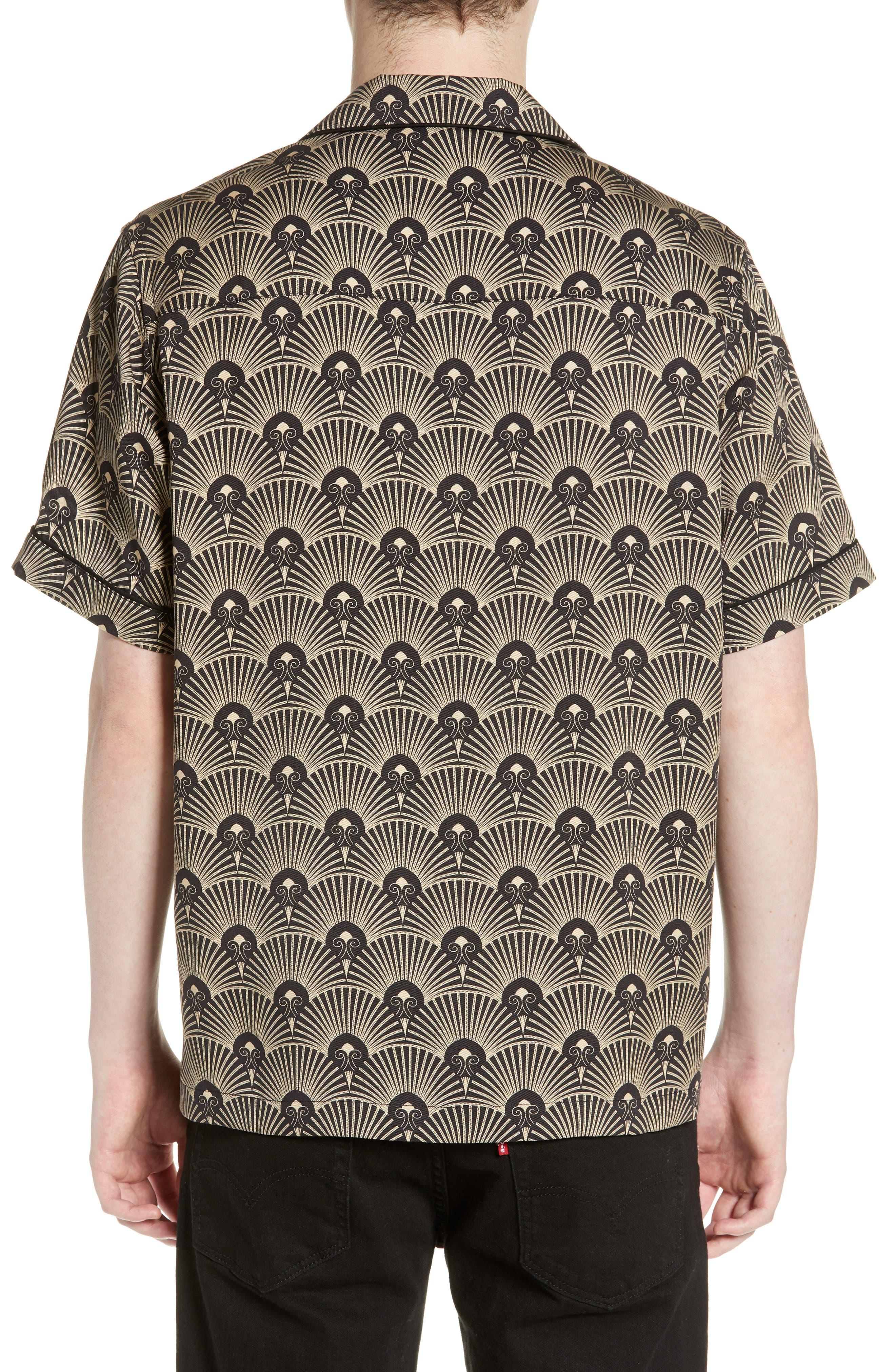 ,                             Cameron Deco Print Camp Shirt,                             Alternate thumbnail 3, color,                             001