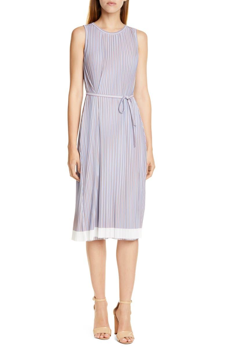BOSS Enadira Sleeveless Tie Waist Dress, Main, color, MOIRE STRIPE