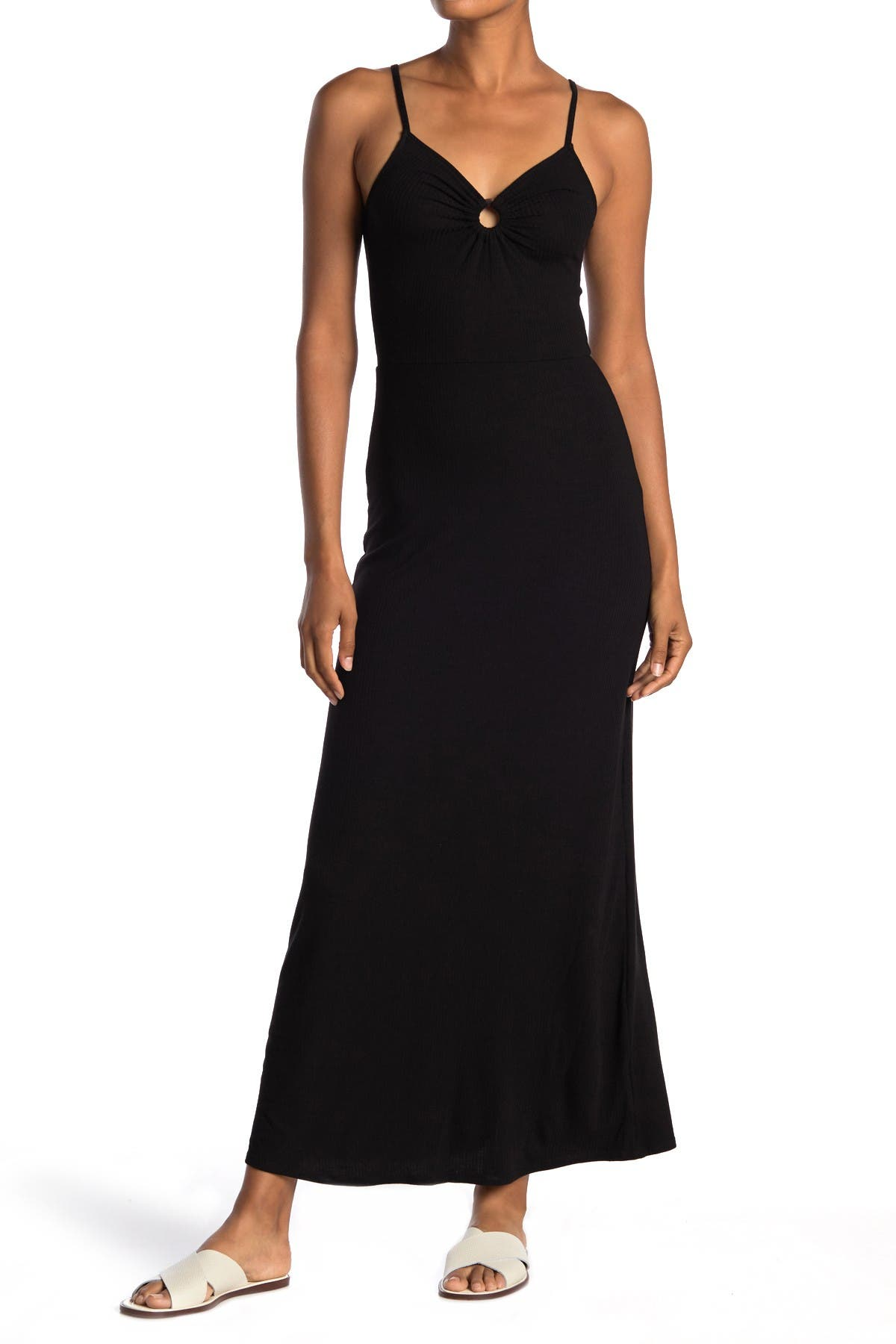 Image of Love, Fire Ribbed Keyhole Cutout Maxi Dress