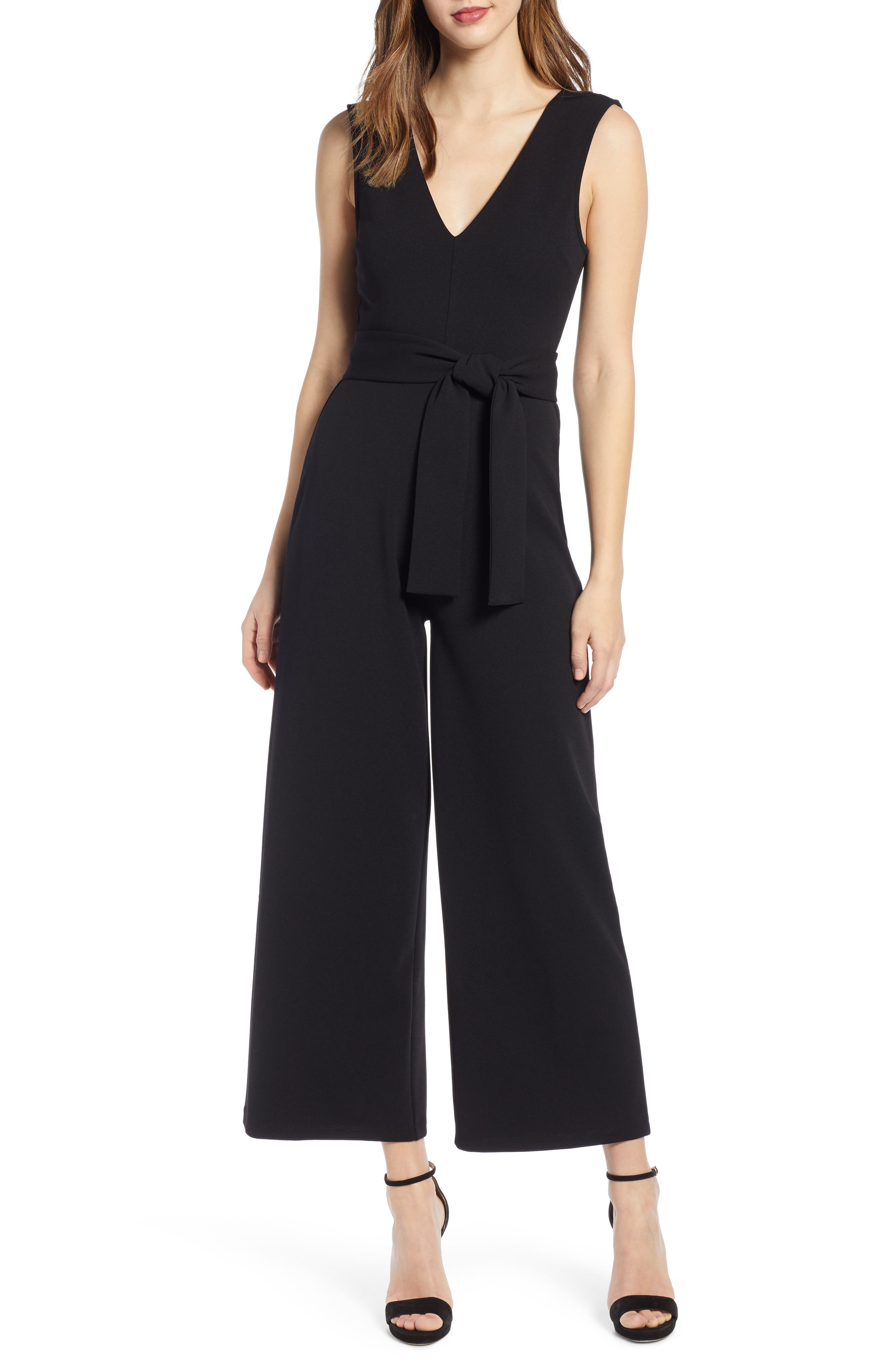 Deep V-Neck Jumpsuit, Main, color, BLACK