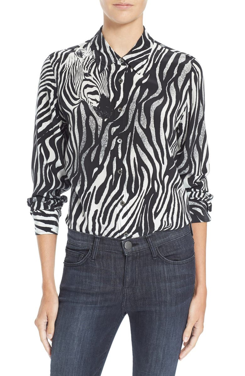 EQUIPMENT 'Brett' Zebra Print Silk Shirt, Main, color, 100
