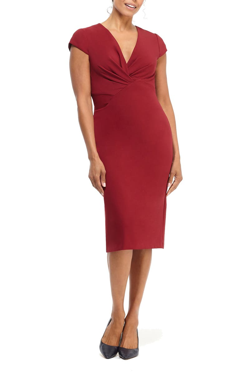 MAGGY LONDON Desk to Dinner Crepe Sheath Dress, Main, color, ROSEWOOD
