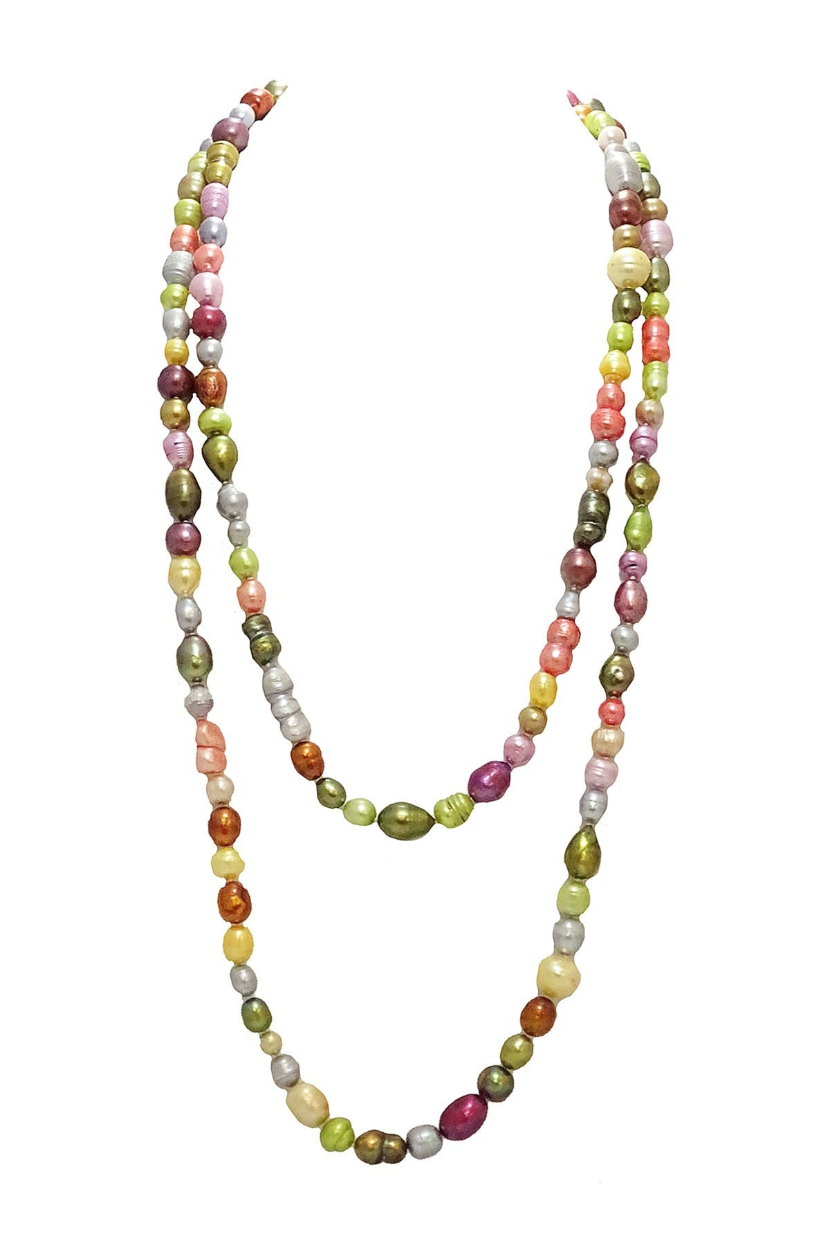 """Image of Savvy Cie 60"""" Bold Multi Color 9-12mm Freshwater Pearl Necklace"""