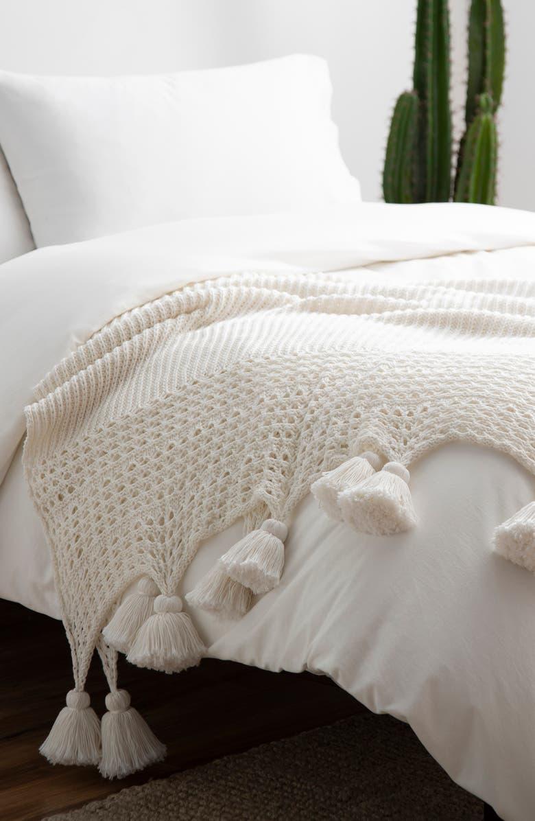 UGG<SUP>®</SUP> Oana Tassel Throw Blanket, Main, color, SNOW
