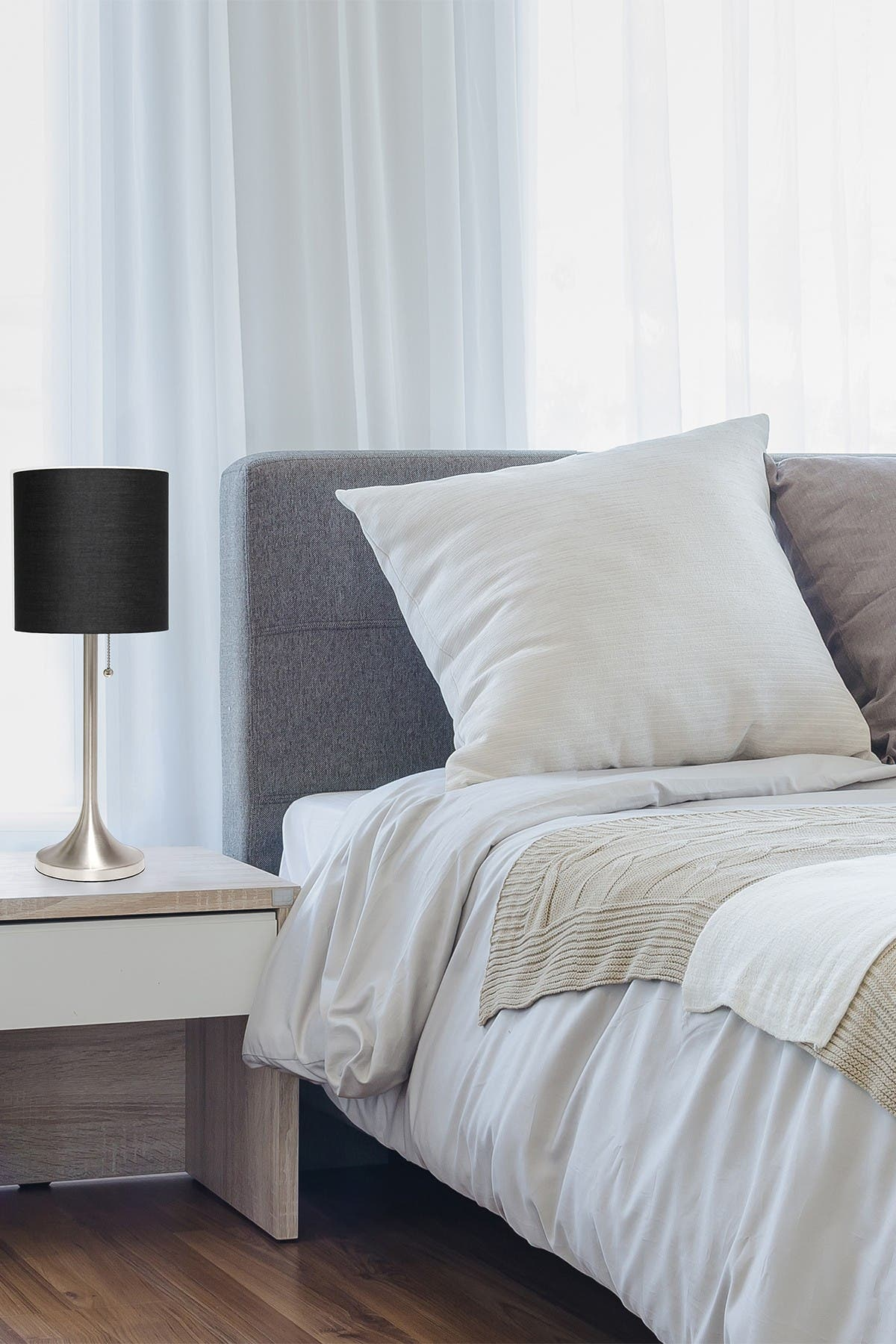 Image of LALIA HOME Simple Designs Brushed Nickel Tapered Table Lamp with Black Fabric Drum Shade