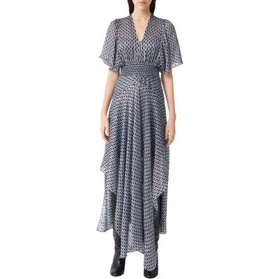 Maje Metallic Print Scarf Dress, 8 FR - Blue