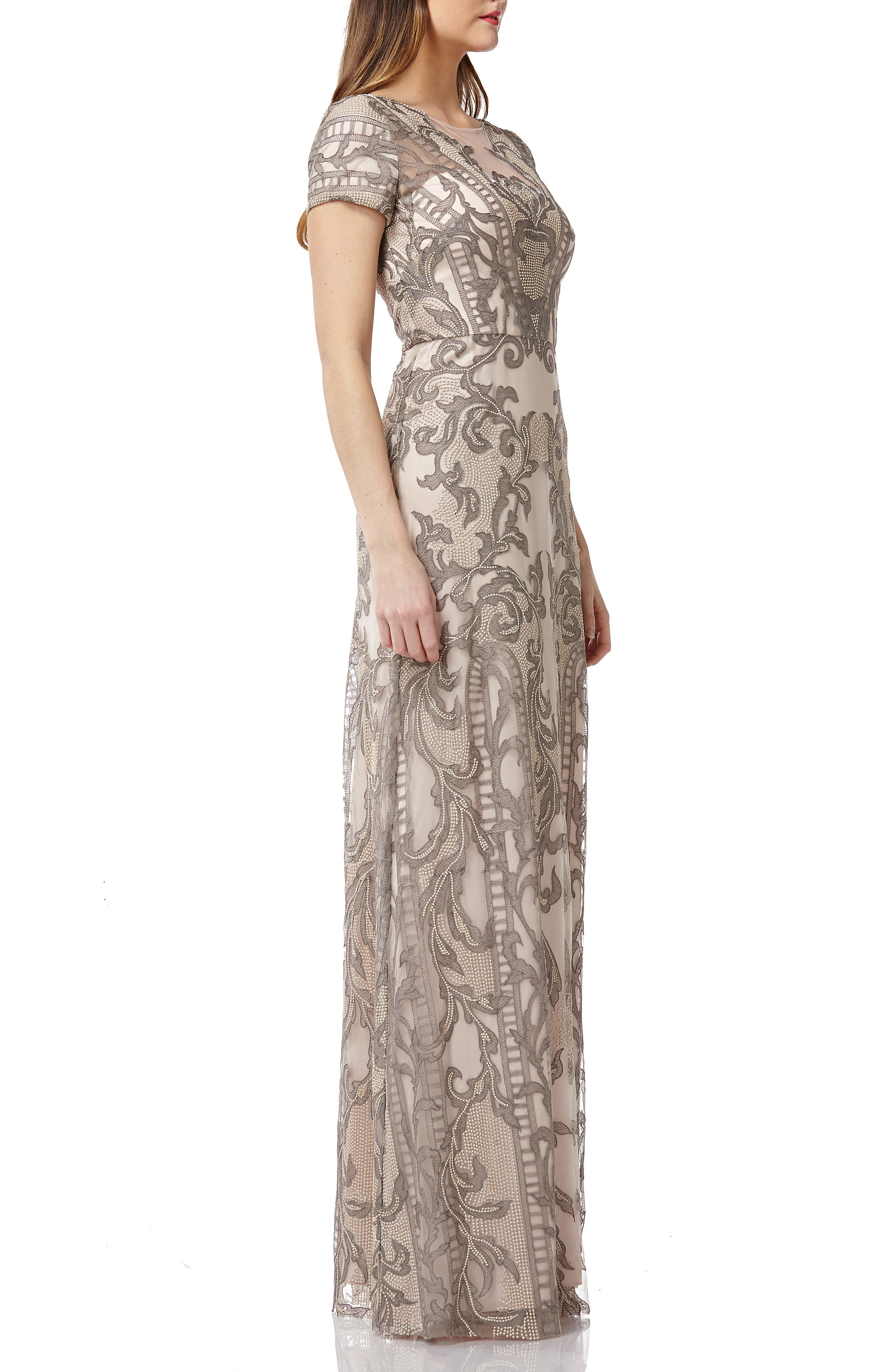 ,                             Embroidered A-Line Gown,                             Alternate thumbnail 4, color,                             ASHGOLD