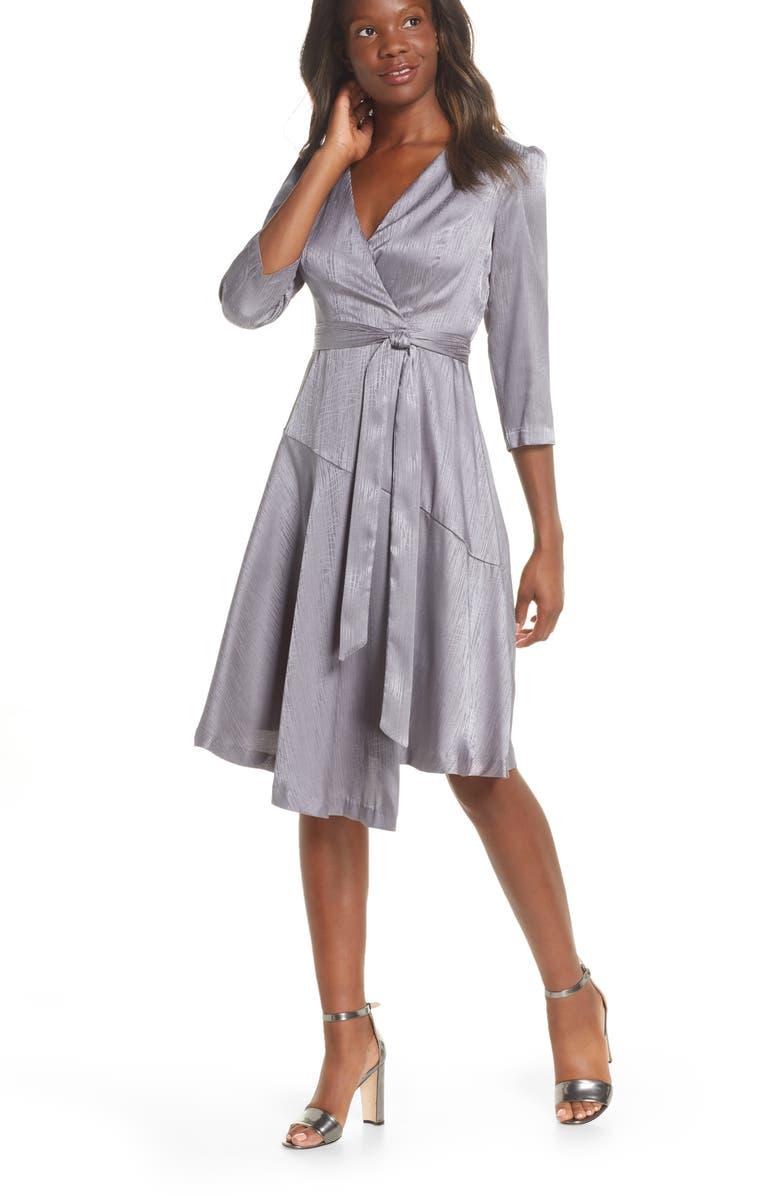 MAISON TARA Jacquard Asymmetrical Faux Wrap Dress, Main, color, GUNMETAL