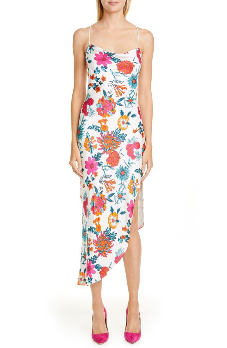 HANEY Goldie Floral Print Asymmetrical Silk Slipdress, Main, color, WHITE