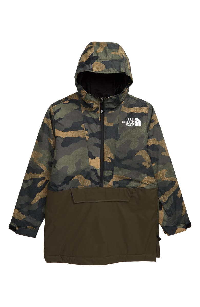 THE NORTH FACE Freedom Insulated Waterproof & Windproof Hooded Anorak, Main, color, BRITISH KHAKI WAXED CAMO PRINT