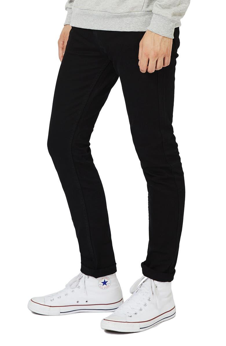TOPMAN Skinny Stretch Jeans, Main, color, BLACK