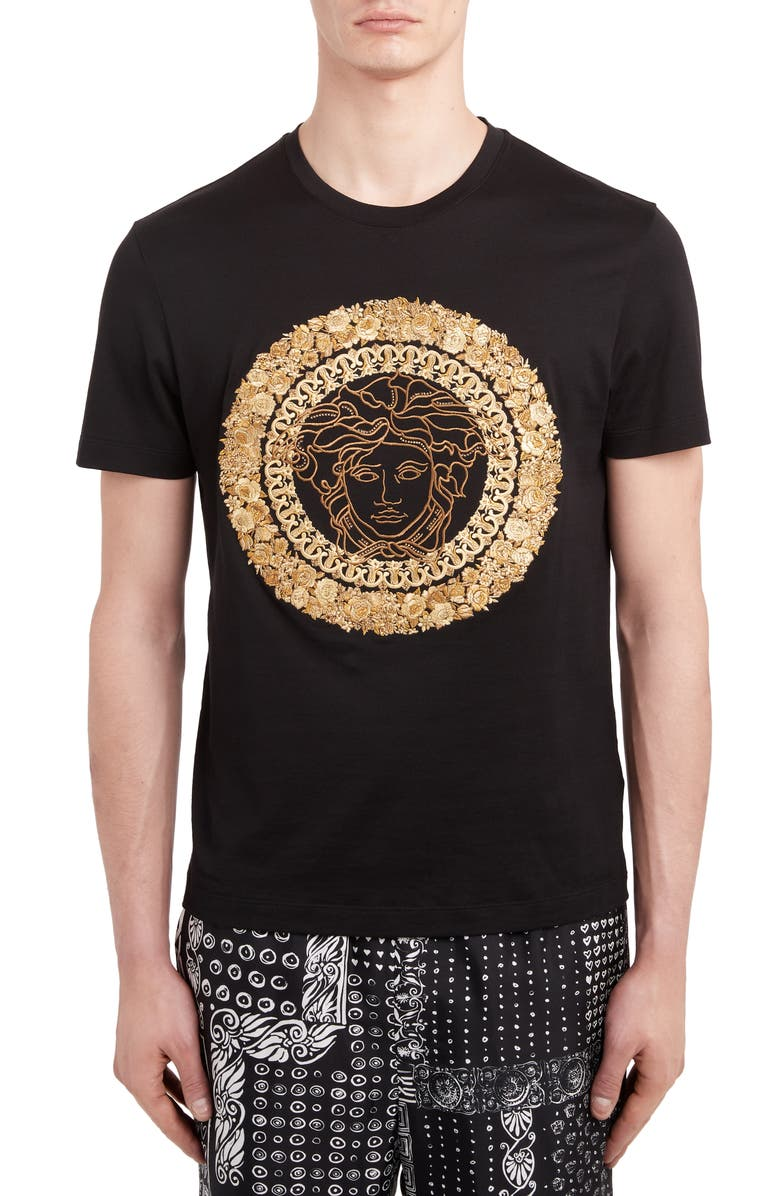 VERSACE Embroidered Medusa T-Shirt, Main, color, BLACK