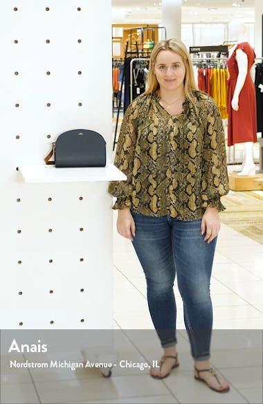 Sac Demi Lune Colorblock Leather Crossbody Bag, sales video thumbnail